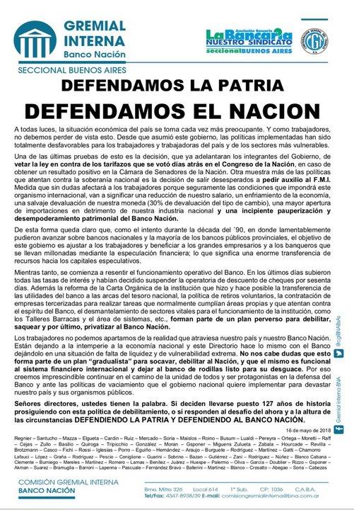 El comunicado de la Comisión Gremial Interna del Banco Nación de la Seccional Buenos Aires.