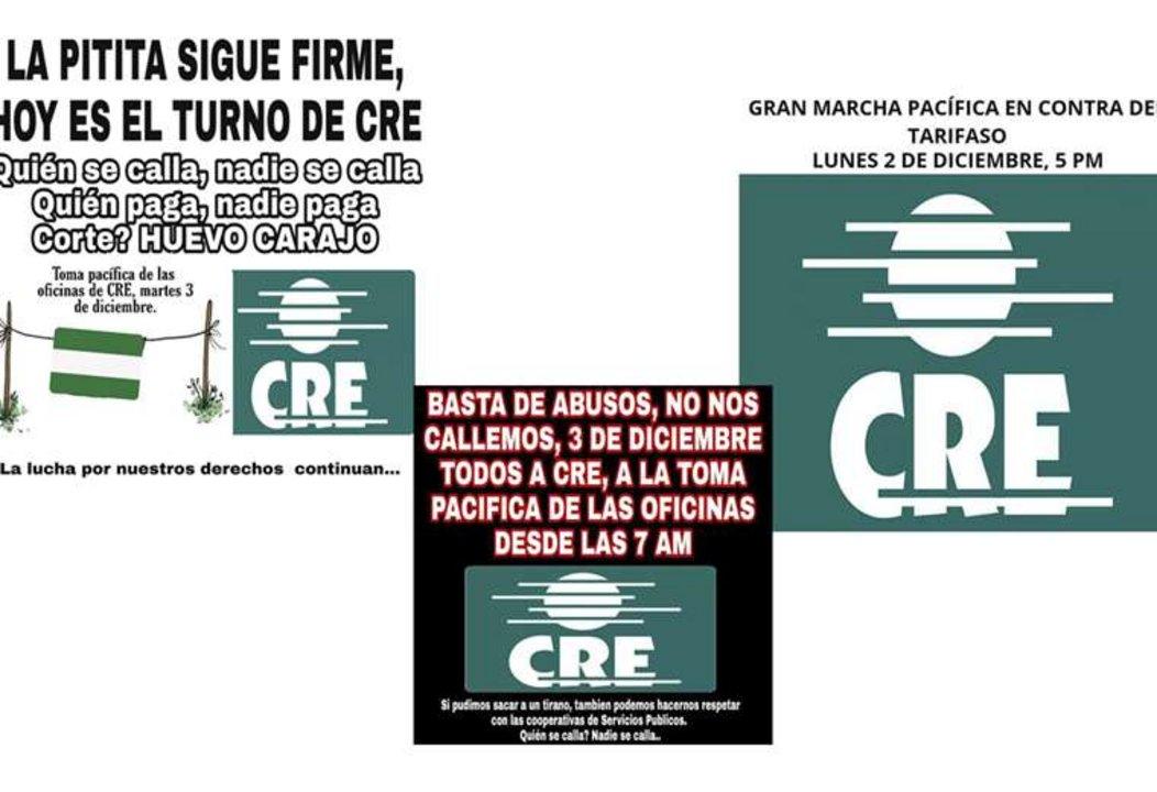 Ciudadanos de Bolivia convocando a una marcha pacífica contra el tarifazo del CRE