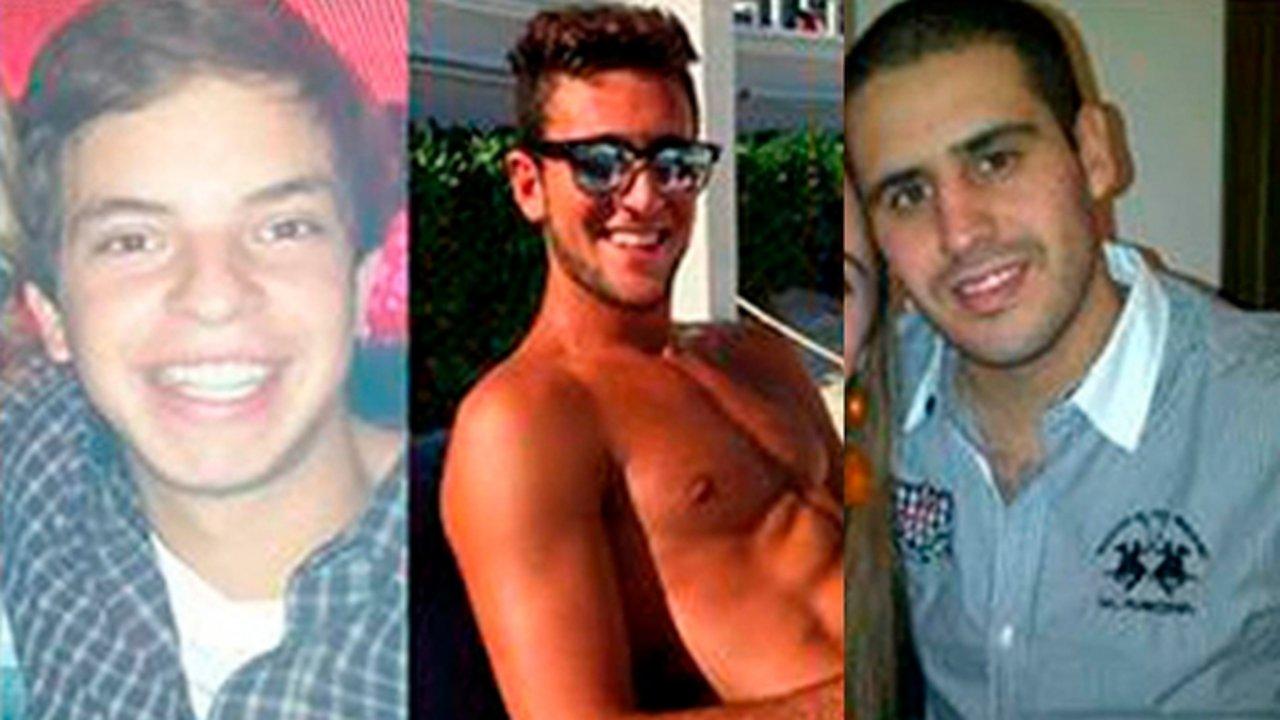 Leandro Del Villar, Luciano Mallemaci y Ezequiel Quintana, los tres acusados.