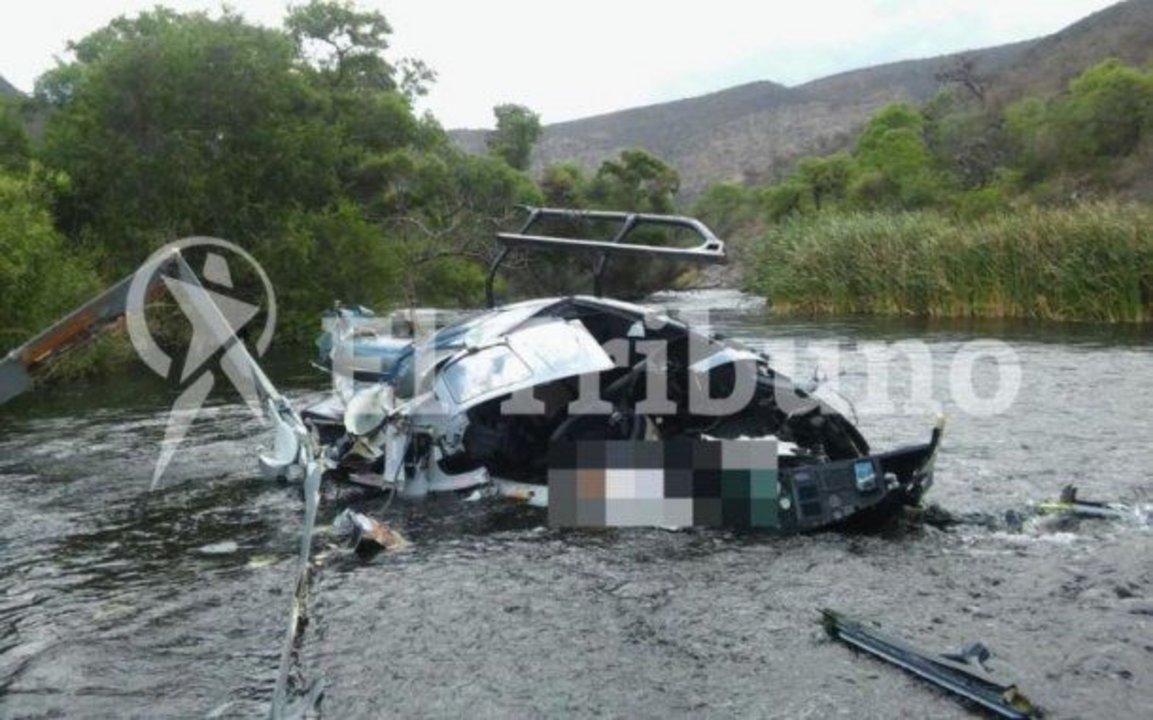 El helicóptero donde viajaba Brito. Foto: El Tribuno